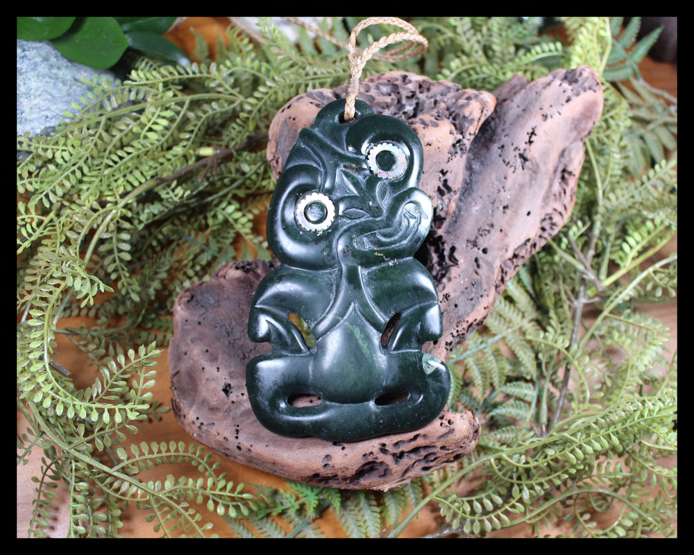 Hei Tiki carved from NZ Serpentine Pounamu - NZ Greenstone