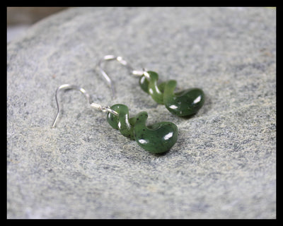 Twist Earrings carved from Hapopo Pounamu - NZ Greenstone