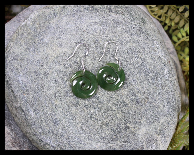 Koru Earrings carved from Hapopo Pounamu - NZ Greenstone