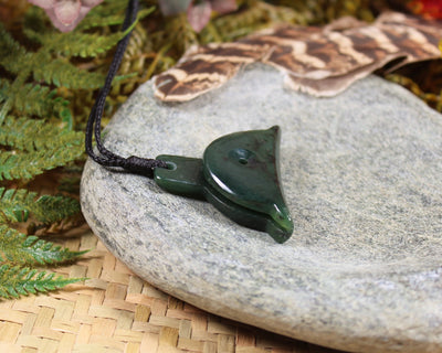 Toki or Adze Pendant with Koru carved from Flower Jade Pounamu - NZ Greenstone