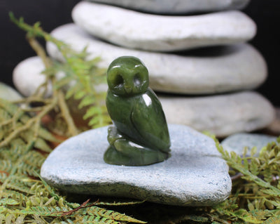 Ruru Morepork Owl Sculpture New Zealand Greenstone