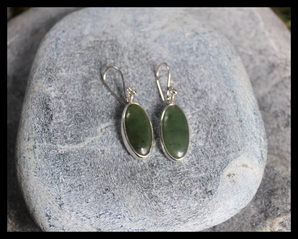 Sterling Silver Drop Earrings carved from Hapopo Pounamu - NZ Greenstone