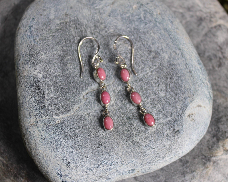 Sterling Silver 3 Drop Earrings carved from Rhodonite - NZ Stone