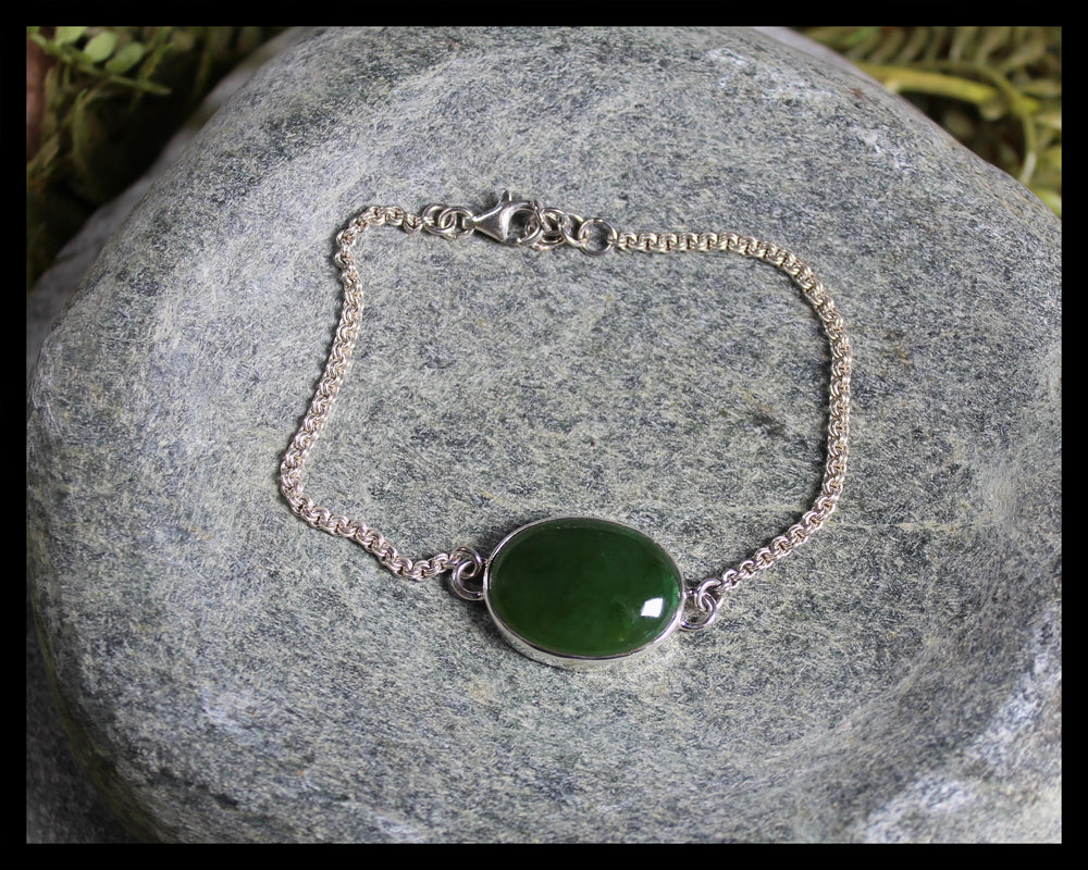 Sterling Silver Bracelet carved from Kahurangi Pounamu - NZ Greenstone