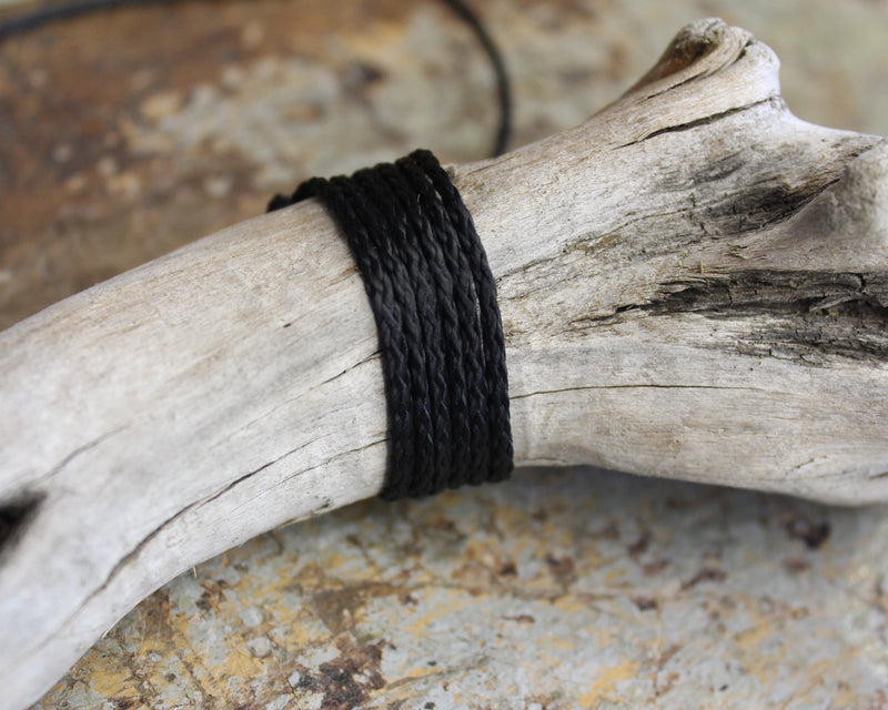 THICK BLACK CORD - Machine plaited