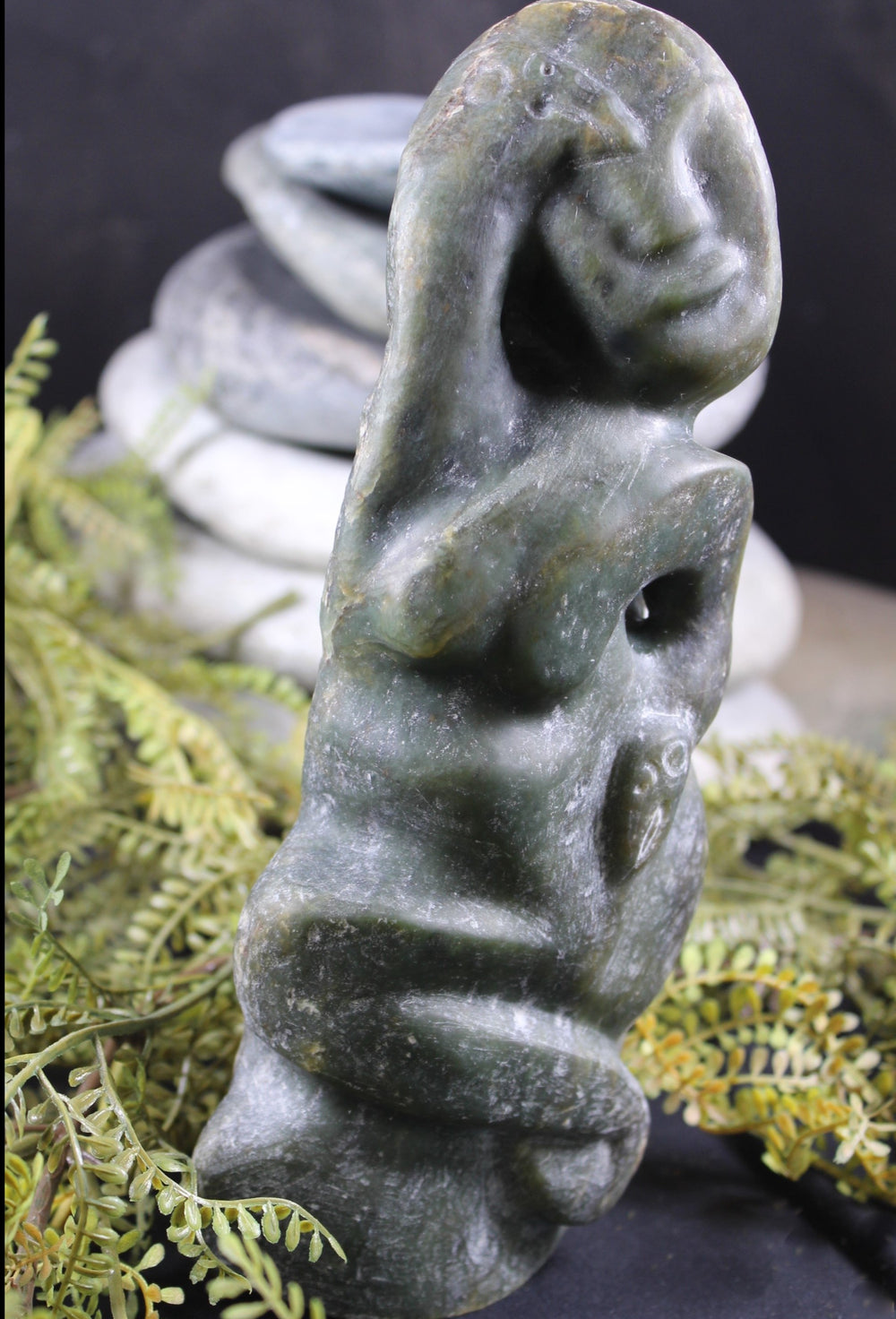 New Zealand Greenstone Sculpture Waraki by Peter Tauwhare
