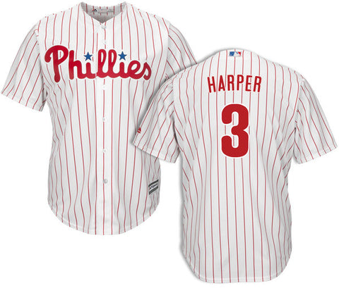 Phillies Bryce Harper Game Jersey #3 - White Pinstripe