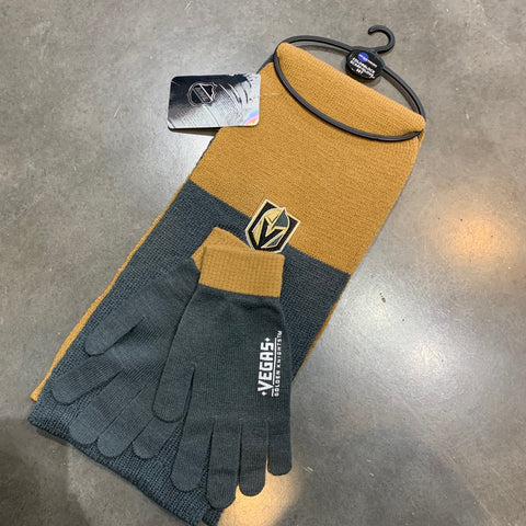 Golden Knights Scarf Set Gold and Gray