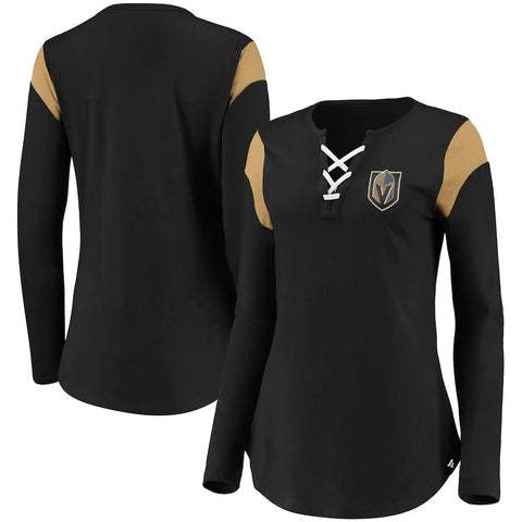 Vegas Golden Knights Womens Black Iconic Long Sleeve Lace-Up V-Neck Long Sleeve - Black
