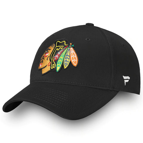 Chicago Blackhawks Fanatics Branded Core Adjustable Hat - Black