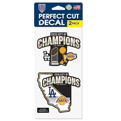 Los Angeles 2020 Dual Champions City of Champions 4'' x 8'' Perfect-Cut Decal 2-Pack