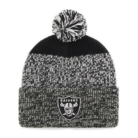 Las Vegas Raiders Static Cuff Knit - Heather Gray & Black