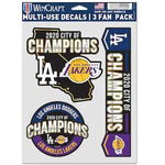 Los Angeles 2020 Dual Champions City of Champions Fan Decal 3-Pack