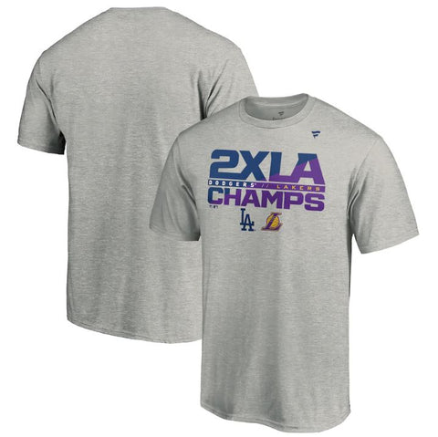 Men's Los Angeles Fanatics Branded Heather Gray 2020 Dual Champions 2x T-Shirt
