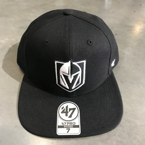 Golden Knights Fitted Black Hat Tonal White Logo Flat Bill Hat '47 Brand