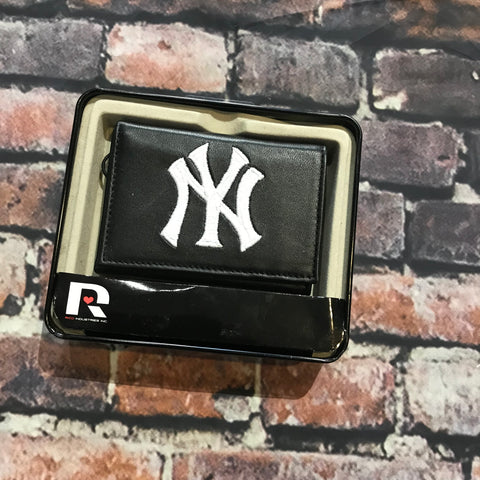 Yankees Leather Wallet Trifold Black