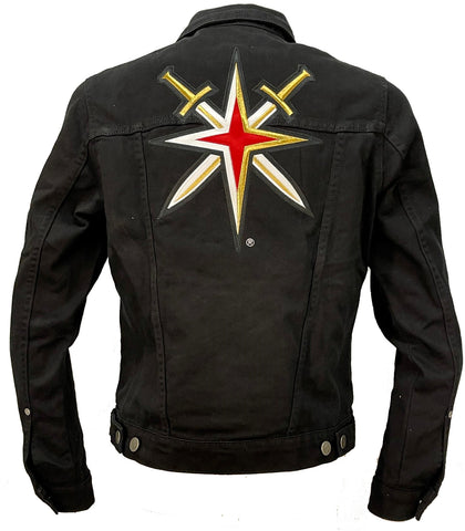 Golden Knights Womens Denim Flare Jacket-Black