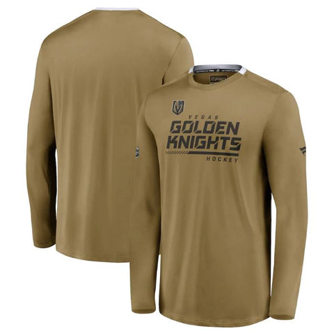 Vegas Golden Knights Fanatics Branded Authentic Pro Locker Room Performance Long Sleeve T-Shirt – Gold