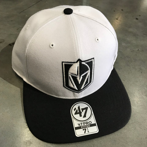 Golden Knights Fitted White & Black Hat Tonal White Logo Flat Bill Hat '47 Brand