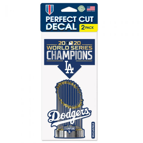 "Dodgers World Series Champions Perfect Cut Decal Set of Two 4""x4"""