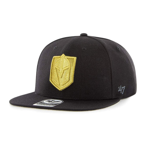 Golden Knights Fitted Black with Gold Logo Flat Bill Hat '47 Brand