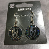 Vegas Golden Knights Silver Sparkle Dangle Earrings