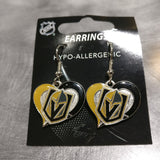 Vegas Golden Knights Heart Dangle Earrings