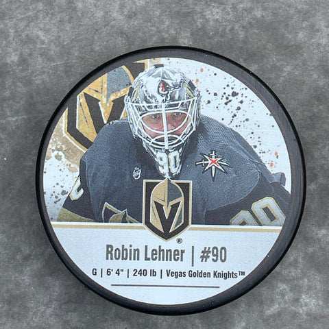 Golden Knights Robin Lehner #90 Player Puck