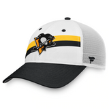 Pittsburgh Penguins Fanatics Branded Prep Squad Trucker Snapback Hat – Black/White