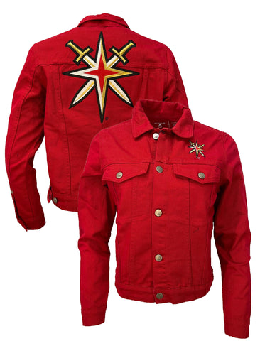 Golden Knights Womens Denim Flare Jacket-Red