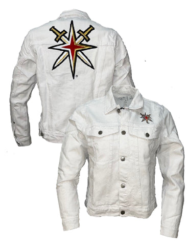 Golden Knights Womens Denim Flare Jacket-white