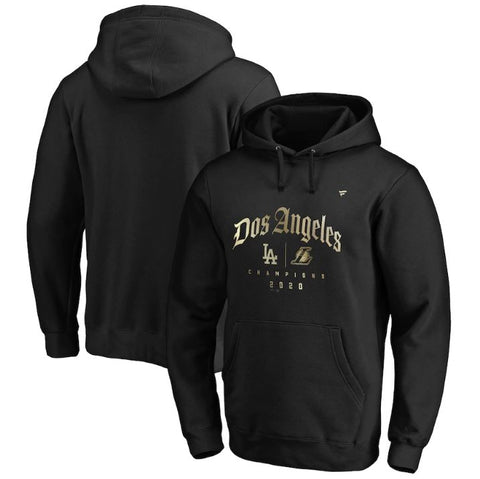 Men's Los Angeles Fanatics Branded Black 2020 Dual Champions Dos Angeles Pullover Hoodie