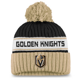 Vegas Golden Knights Fanatics Branded Authentic Pro Locker Room Cuffed Knit Hat with Pom - Black/Gold