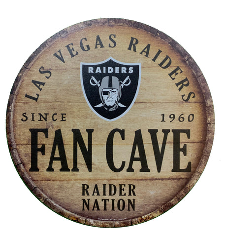 "Las Vegas Raiders ""Fan Cave"" Round 14""14"" Wood Sign"