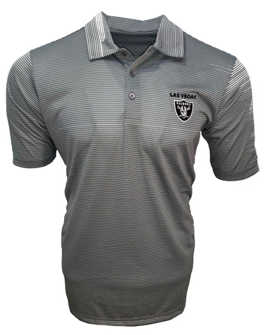 Las Vegas Raiders Men's Quest Performance Striped Polo - Gray