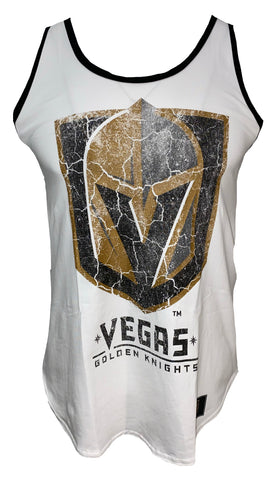 Golden Knights Womens Faux Patch Racerback Flow Tank - White