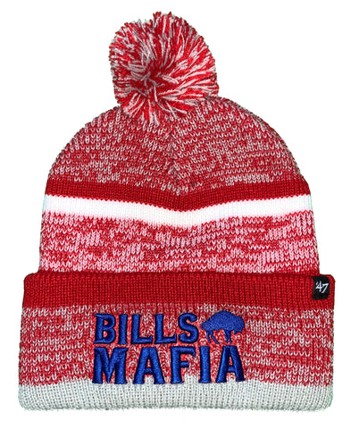Men's Buffalo Bills '47 Charcoal Legacy Bills Mafia Northward Cuff Pom Knit Hat - Red