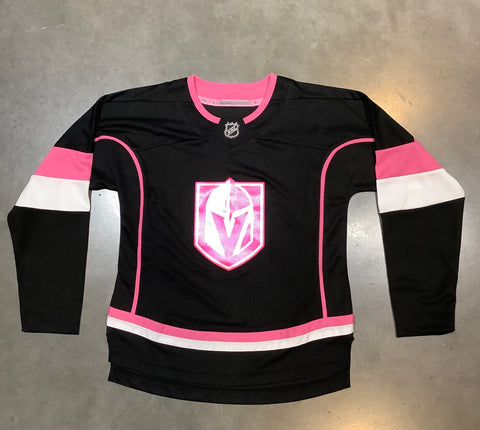 Golden Knights Youth Black Fashion Jersey - Black/Pink