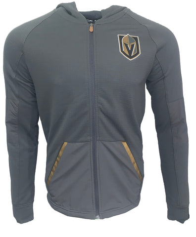 Golden Knights Authentic Pro Rink Waffle Knit Full Zip - Gray