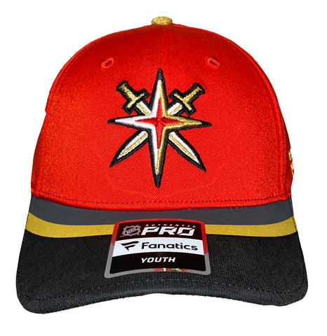 Golden Knights Youth Velcro Adj Retro Reverse Snapback Hat - Red w/ Striped Bill