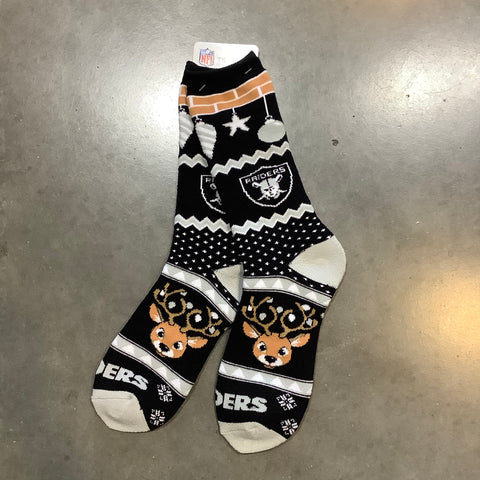 Las Vegas Raiders Holiday Cheer Socks Large - Black