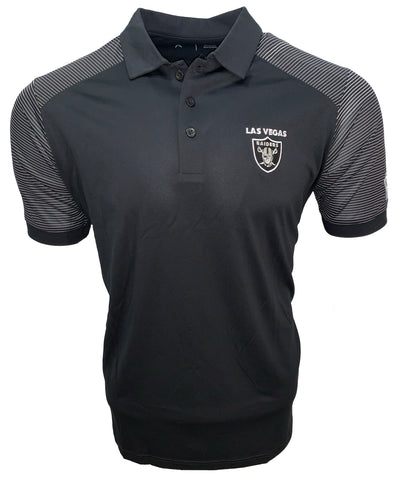 Las Vegas Raiders Men's Engage Performance Striped Polo - Black