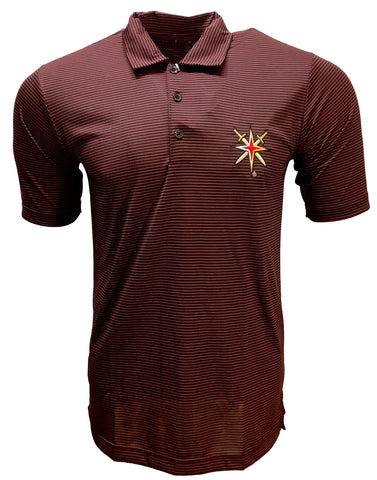 Golden Knights Mens Quest Polo - Red & Black Stripe