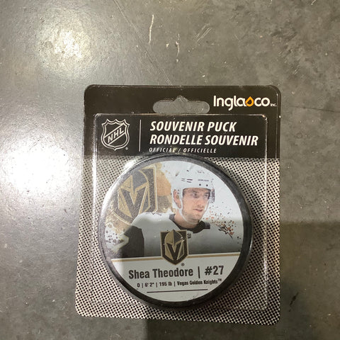 Golden Knights Shea Theodore #27 Away Player Puck
