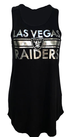 Las Vegas Raiders Womens Metallic Banner Tank - Black