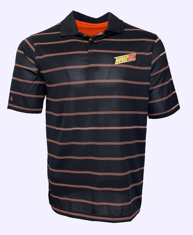 Aviators Men's Deluxe Stripe Polo - Black/Mango