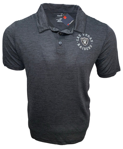 Las Vegas Raiders Men's Rotation Performance Polo - Heathered Black