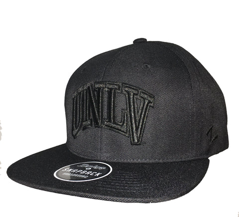 UNLV Obsidian Black on Black Stretch Fit - Snapback