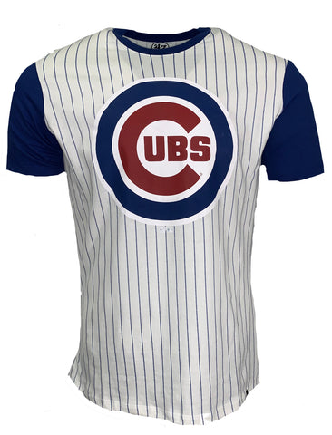 Chicago Cubs Pinstripe Tshirt - White/Royal