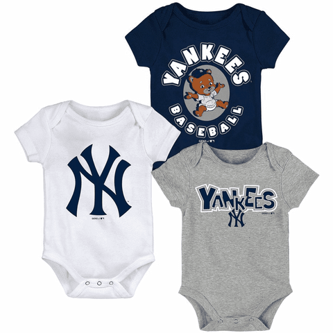Yankees Newborn & Infant Navy/White/Heathered Gray Everyday Fan Three-Pack Bodysuit Set